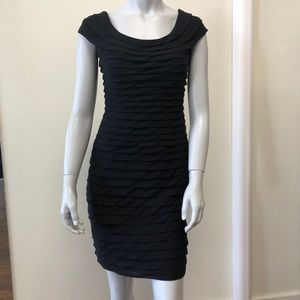 Adrienne Papell Black Dress ruffles size 2 petite